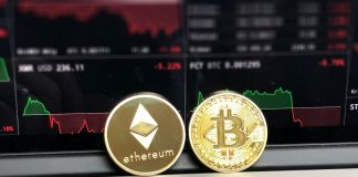 ethereum and bitcoin coins in a photo